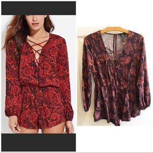 FOREVER 21 paisley long sleeve romper size M